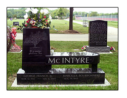 Picture of Granite Memorial Bench Designed by the Iowa Memorial Granite Company and Set Above a Grave in an Iowa Cemetery.