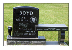 Picture of Memorial Bench for Iowa Cemetery Designed by the Iowa Memorial Granite Company for the Boyd Family.