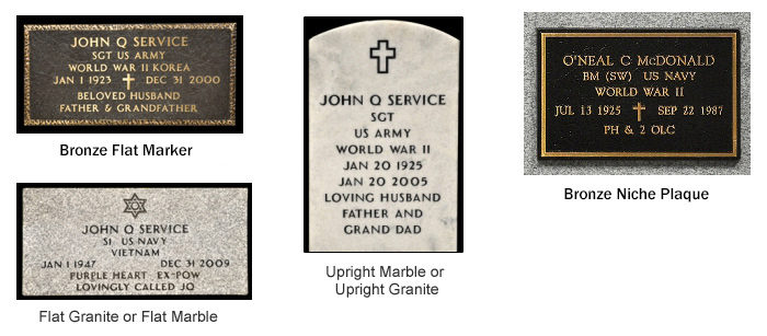 Iowa Cemetery Grave Markers for Veterans and Their Spouses